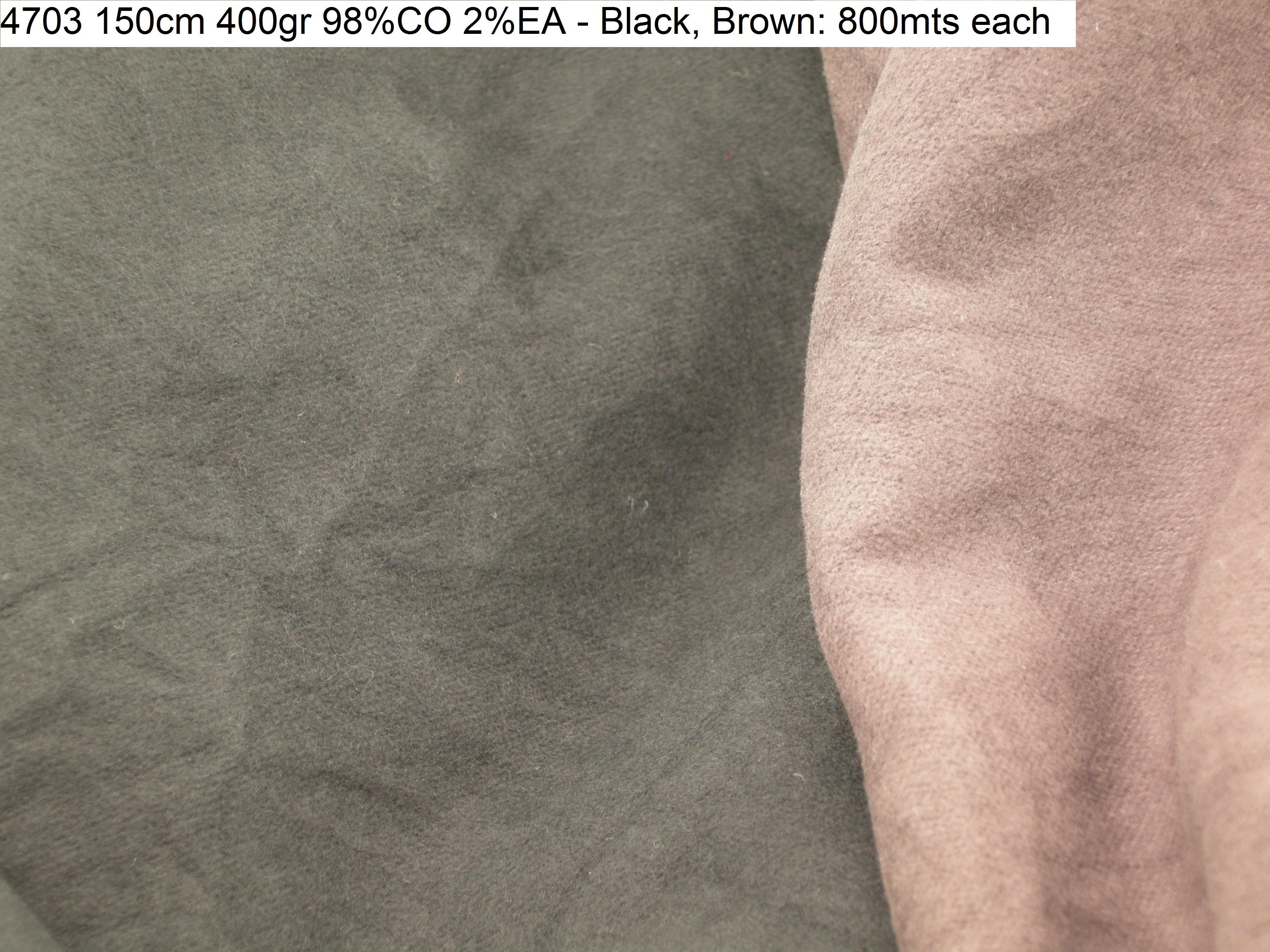 4703 crinckled stretch comfort jacket pilor fashion fabric 150cm 400gr 98CO 2EA - Black Brown 800mts each