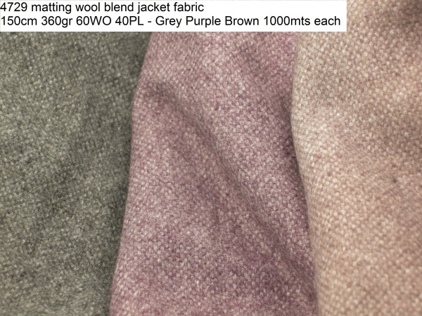 4729 matting wool blend jacket fabric 150cm 360gr 60WO 40PL - Grey Purple Brown 1000mts each