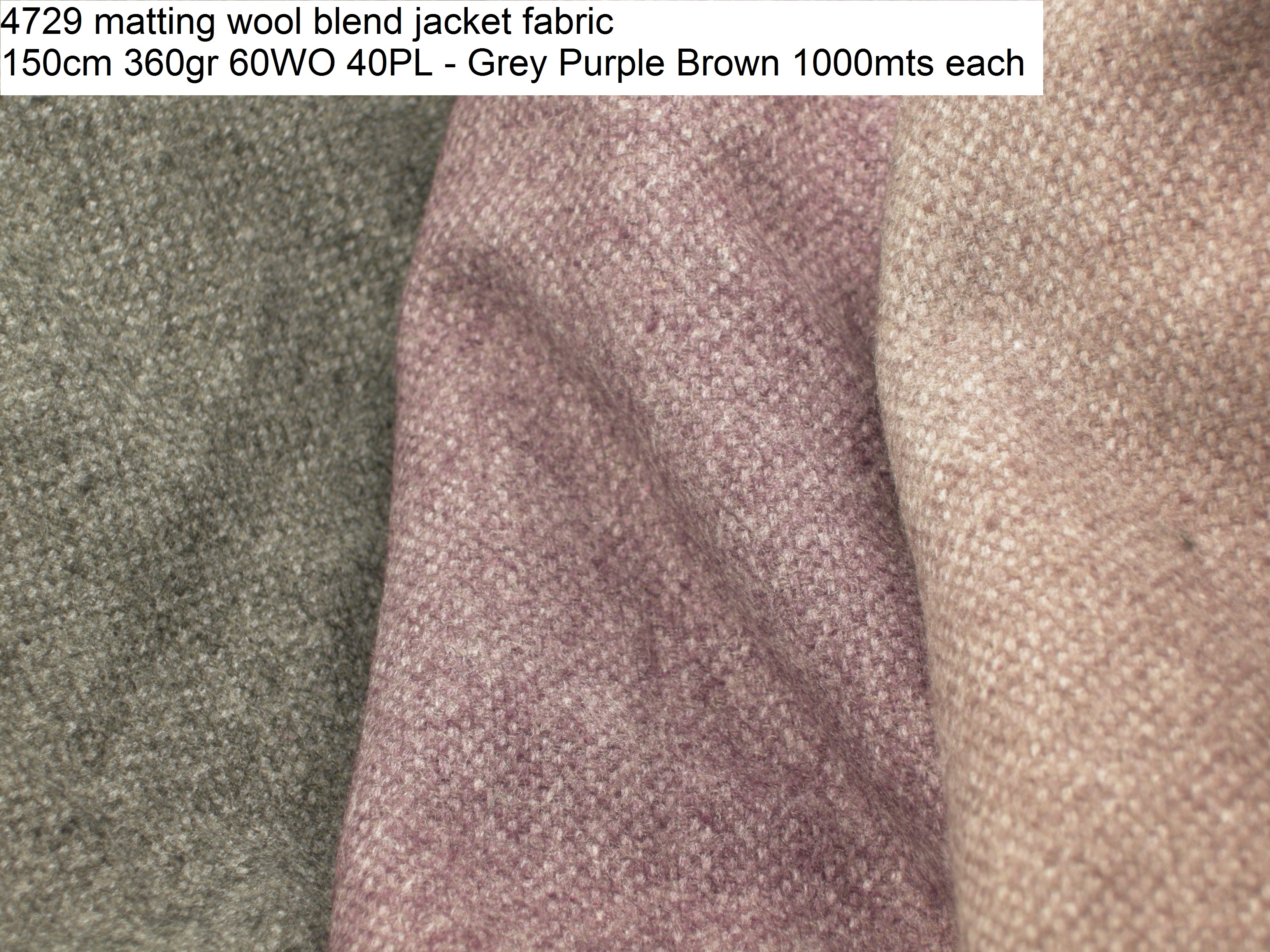 4729 matting wool blend jacket fabric 150cm 360gr 60WO 40PL - Grey Purple Brown 1000mts each