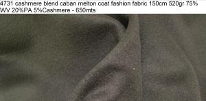 4731 cashmere blend caban melton coat fashion fabric 150cm 520gr 75WV 20PA 5Cashmere - 650mts