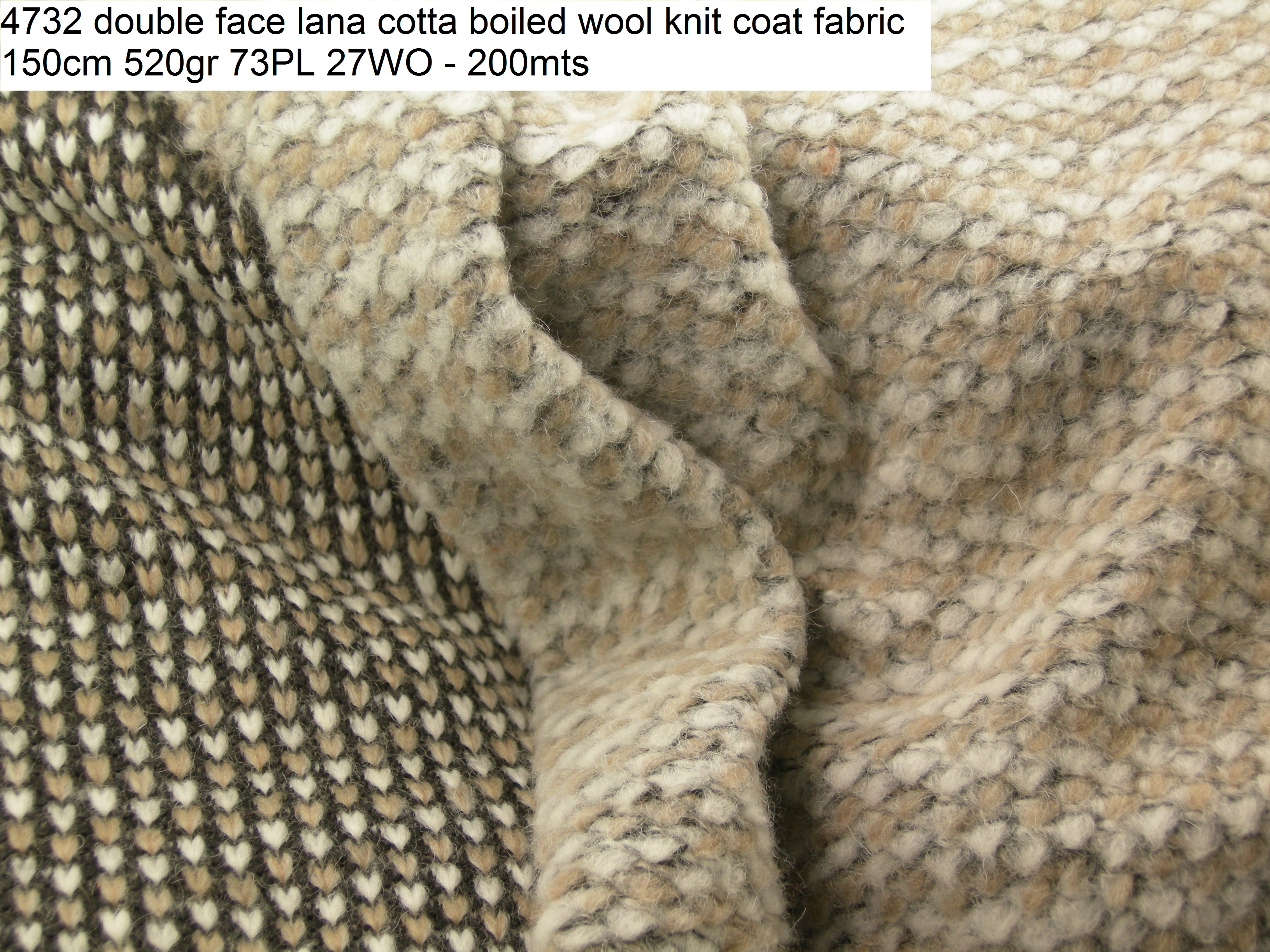 4732 double face lana cotta boiled wool knit coat fabric 150cm 520gr 73PL 27WO - 200mts