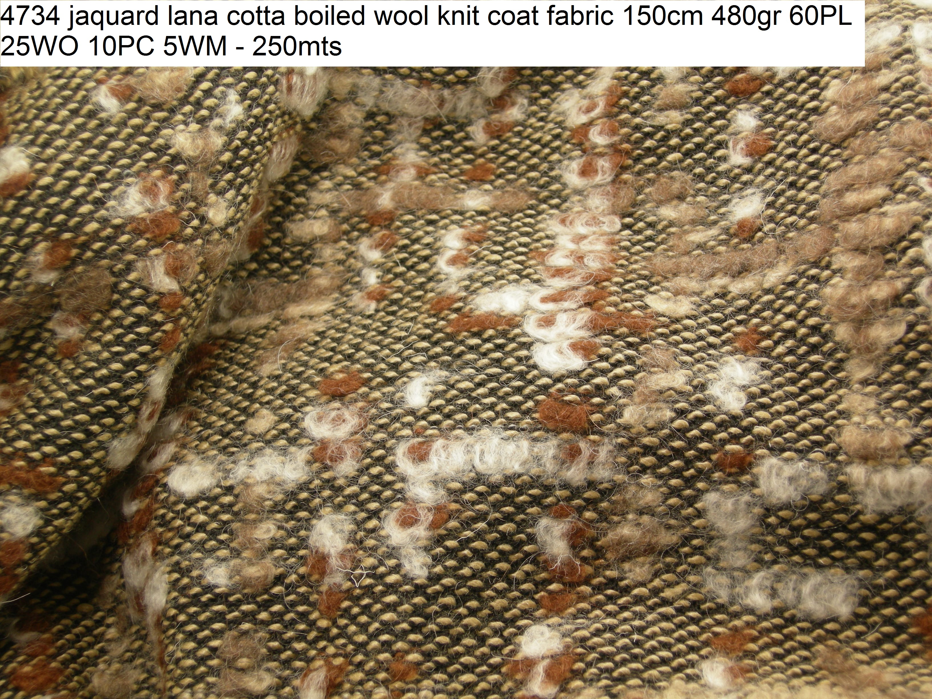 4734 jaquard lana cotta boiled wool knit coat fabric 150cm 480gr 60PL 25WO 10PC 5WM - 250mts