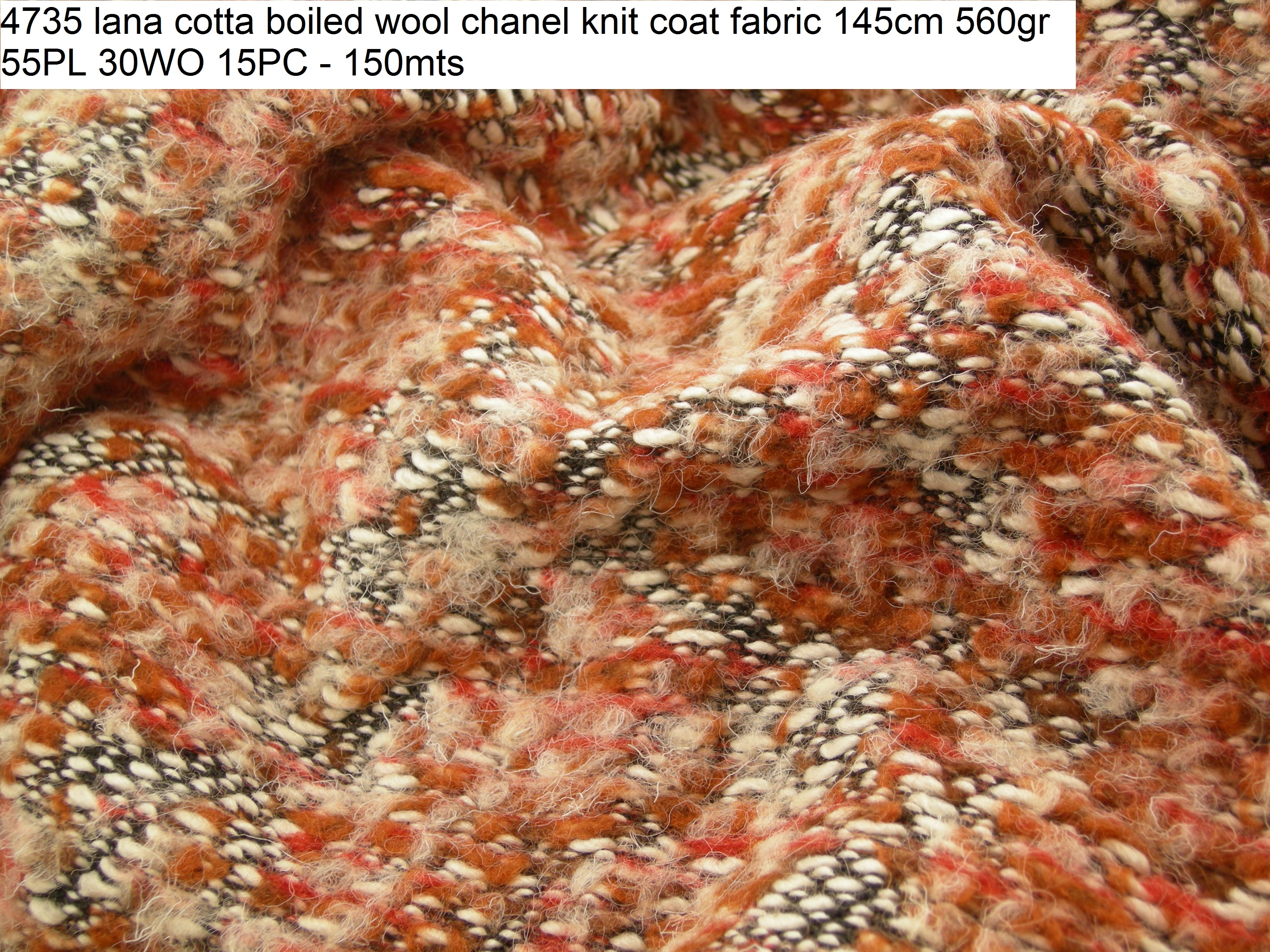 4735 lana cotta boiled wool chanel knit coat fabric 145cm 560gr 55PL 30WO 15PC - 150mts