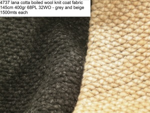4737 lana cotta boiled wool knit coat fabric 145cm 400gr 68PL 32WO - grey and beige 1500mts each