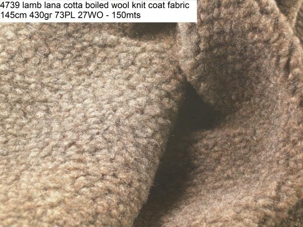 4739 lamb lana cotta boiled wool knit coat fabric 145cm 430gr 73PL 27WO - 150mts