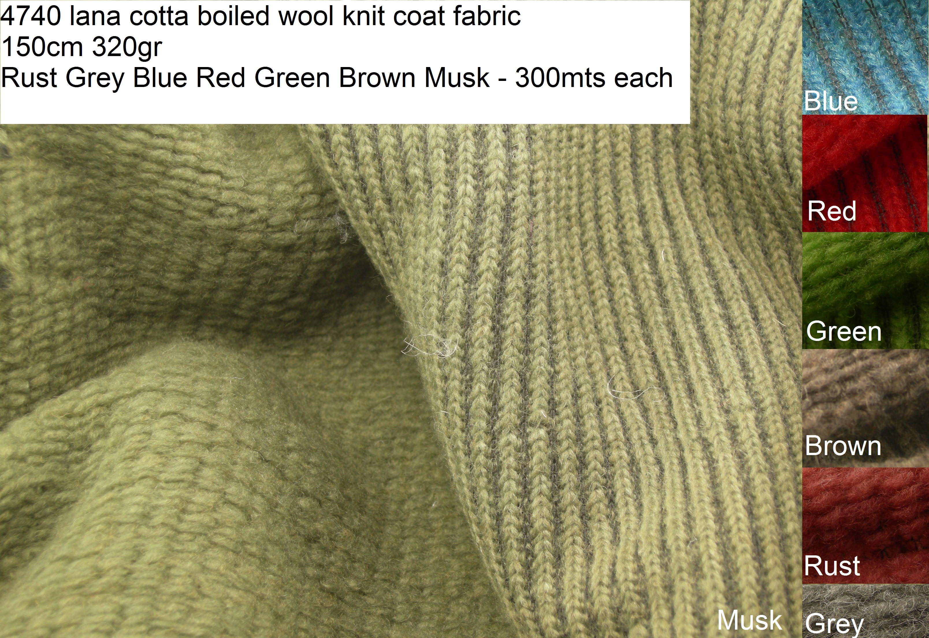 4740 lana cotta boiled wool knit coat fabric 150cm 320gr - Rust Grey Blue Red Green Brown Musk - 300mts each