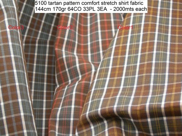 5100 tartan pattern comfort stretch shirt fabric 144cm 170gr 64CO 33PL 3EA - 2000mts each