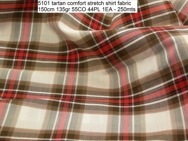 5101 tartan comfort stretch shirt fabric 150cm 135gr 55CO 44PL 1EA - 250mts