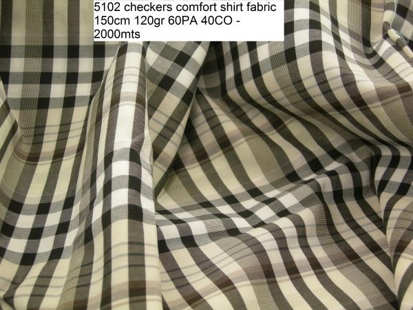 5102 checkers comfort shirt fabric 150cm 120gr 60PA 40CO - 2000mts
