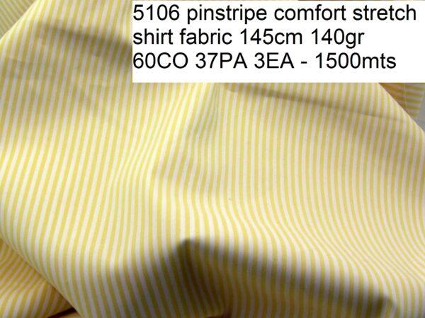 5106 pinstripe comfort stretch shirt fabric 145cm 140gr 60CO 37PA 3EA - 1500mts
