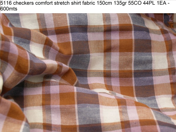 5116 checkers comfort stretch shirt fabric 150cm 135gr 55CO 44PL 1EA - 600mts