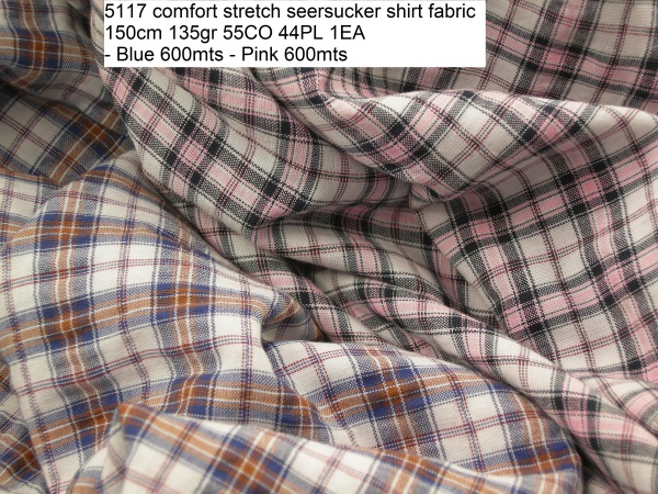 5117 comfort stretch seersucker shirt fabric 150cm 135gr 55CO 44PL 1EA - Blue 600mts - Pink 600mts