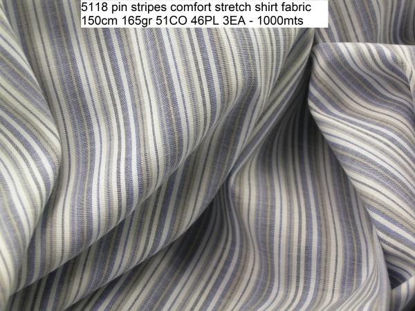 5118 pin stripes comfort stretch shirt fabric 150cm 165gr 51CO 46PL 3EA - 1000mts