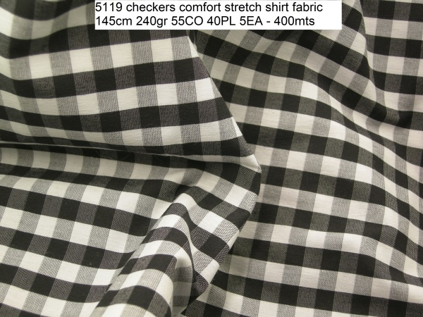 5119 checkers comfort stretch shirt fabric 145cm 240gr 55CO 40PL 5EA - 400mts