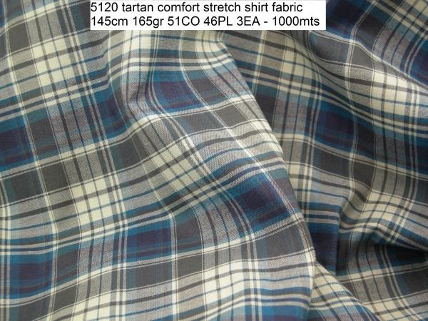 5120 tartan comfort stretch shirt fabric 145cm 165gr 51CO 46PL 3EA – 1000mts