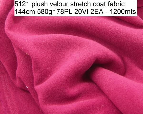 5121 plush velour stretch coat fabric 144cm 580gr 78PL 20VI 2EA - 1200mts