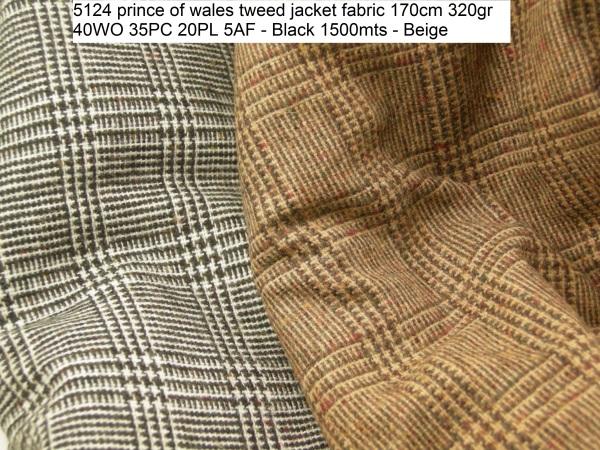 5124 prince of wales tweed jacket fabric 170cm 320gr 40WO 35PC 20PL 5AF - Black 1500mts - Beige 1500mts