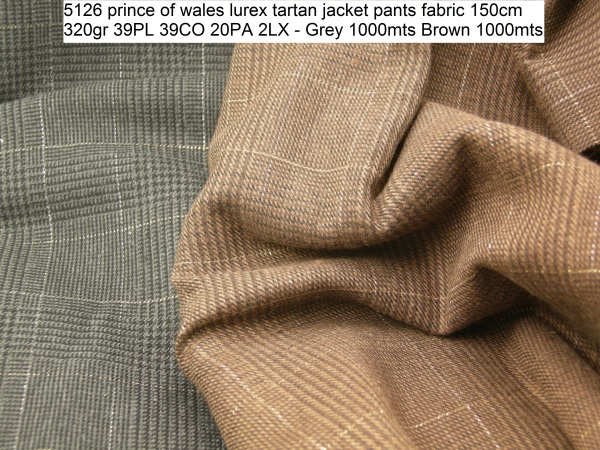 5126 prince of wales lurex tartan jacket pants fabric 150cm 320gr 39PL 39CO 20PA 2LX - Grey 1000mts Brown 1000mts