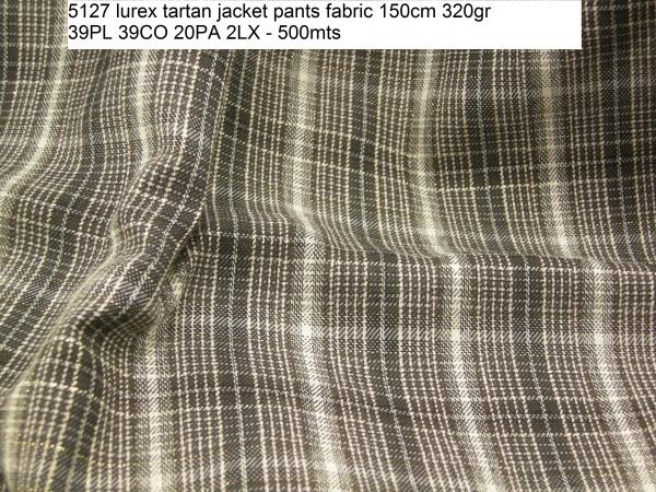 5127 lurex tartan jacket pants fabric 150cm 320gr 39PL 39CO 20PA 2LX - 500mts