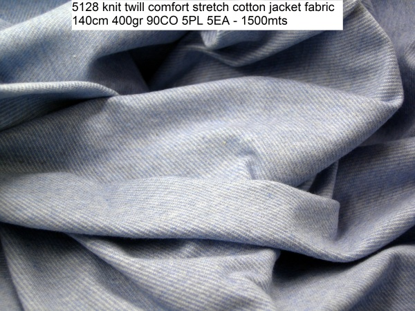 5128 knit twill comfort stretch cotton jacket fabric 140cm 400gr 90CO 5PL 5EA - 1500mts