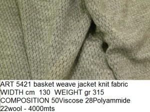 ART 5421 basket weave jacket knit fabric WIDTH cm 130 WEIGHT gr 315 COMPOSITION 50Viscose 28Polyammide 22wool - 4000mts