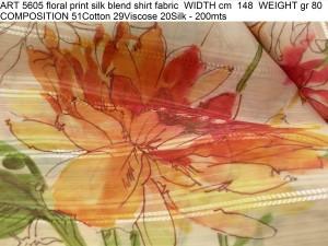 ART 5605 floral print silk blend shirt fabric WIDTH cm 148 WEIGHT gr 80 COMPOSITION 51Cotton 29Viscose 20Silk - 200mts