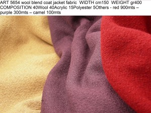 ART 5654 wool blend coat jacket fabric WIDTH cm150 WEIGHT gr400 COMPOSITION 40Wool 40Acrylic 15Polyester 5Others - red 900mts – purple 300mts – camel 100mts
