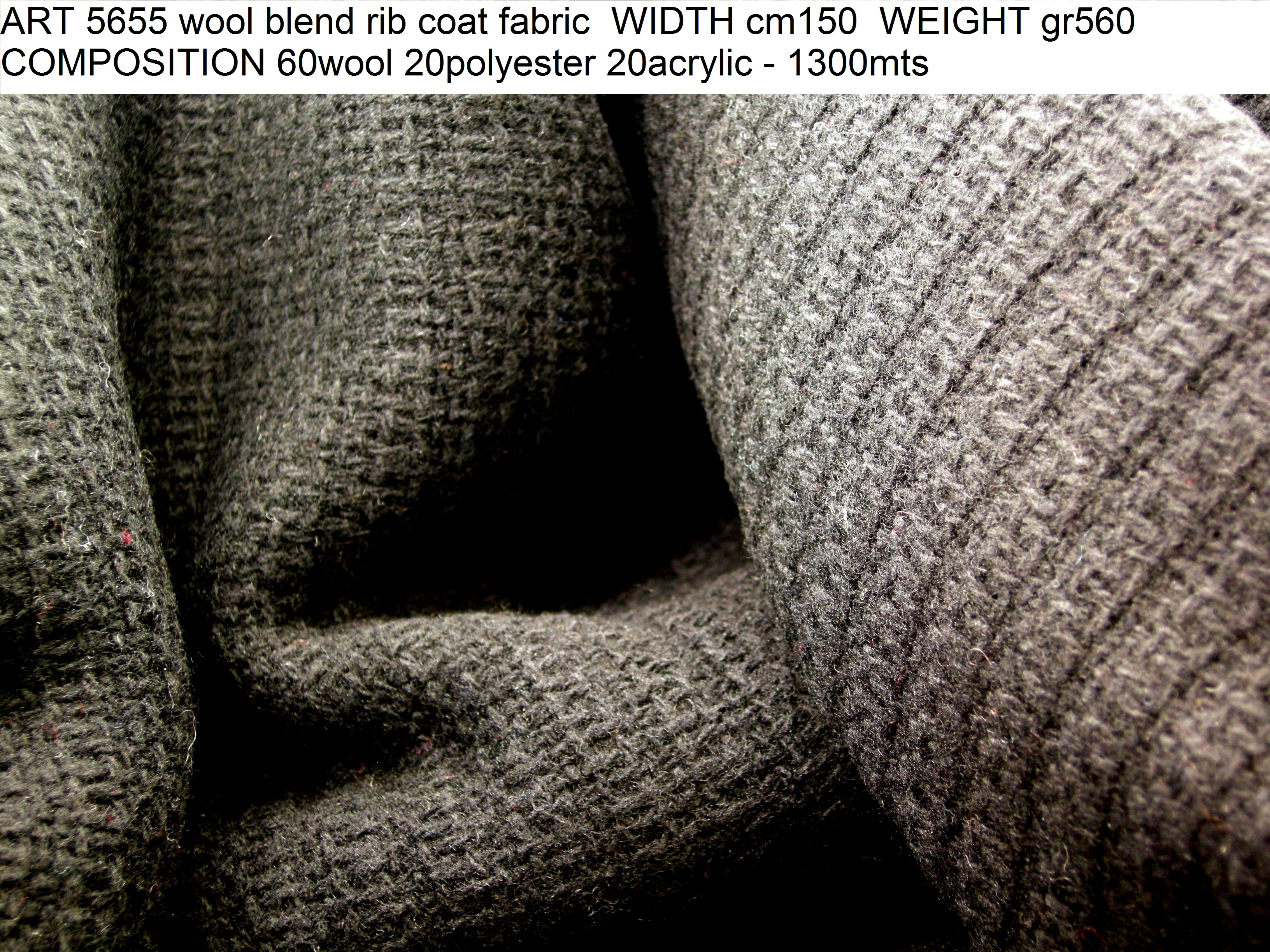 ART 5655 wool blend rib coat fabric WIDTH cm150 WEIGHT gr560 COMPOSITION 60wool 20polyester 20acrylic - 1300mts