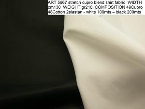 ART 5667 stretch cupro blend shirt fabric WIDTH cm130 WEIGHT gr210 COMPOSITION 49Cupro 48Cotton 2elastan - white 100mts – black 200mts