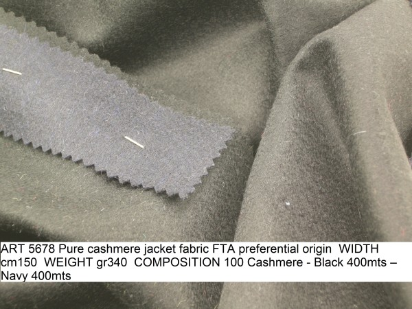 ART 5678 Pure cashmere jacket fabric FTA preferential origin WIDTH cm150 WEIGHT gr340 COMPOSITION 100 Cashmere - Black 400mts – Navy 400mts