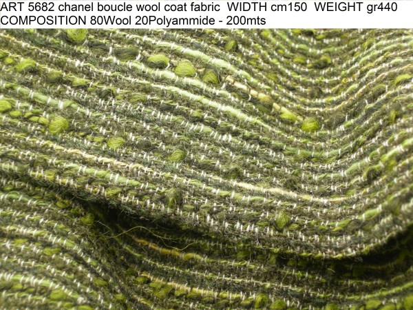 ART 5682 chanel boucle wool coat fabric WIDTH cm150 WEIGHT gr440 COMPOSITION 80Wool 20Polyammide - 200mts