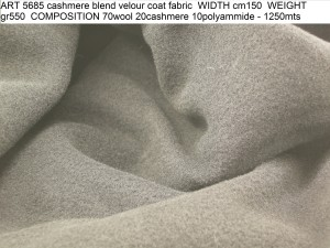 ART 5685 cashmere blend velour coat fabric WIDTH cm150 WEIGHT gr550 COMPOSITION 70wool 20cashmere 10polyammide - 1250mts