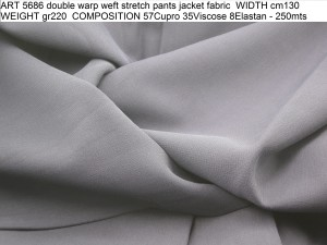 ART 5686 double warp weft stretch pants jacket fabric WIDTH cm130 WEIGHT gr220 COMPOSITION 57Cupro 35Viscose 8Elastan - 250mts