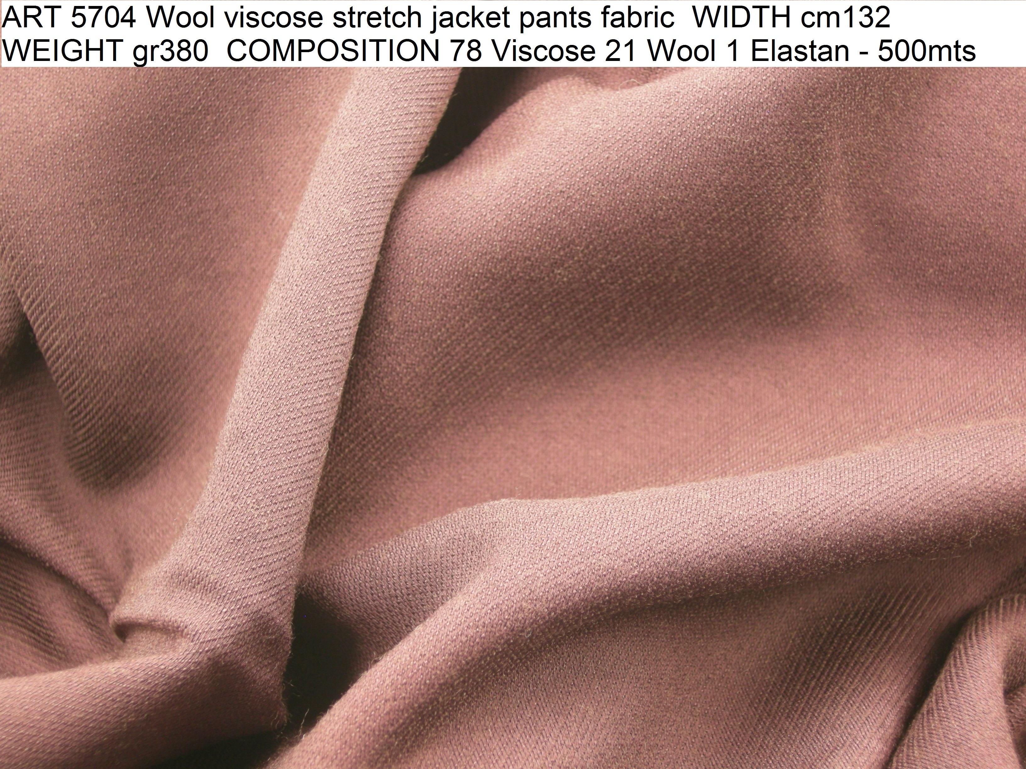 ART 5704 Wool viscose stretch jacket pants fabric WIDTH cm132 WEIGHT gr380 COMPOSITION 78 Viscose 21 Wool 1 Elastan - 500mts