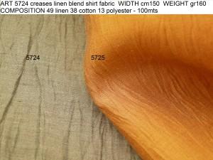 ART 5724 creases linen blend shirt fabric WIDTH cm150 WEIGHT gr160 COMPOSITION 49 linen 38 cotton 13 polyester - 100mts