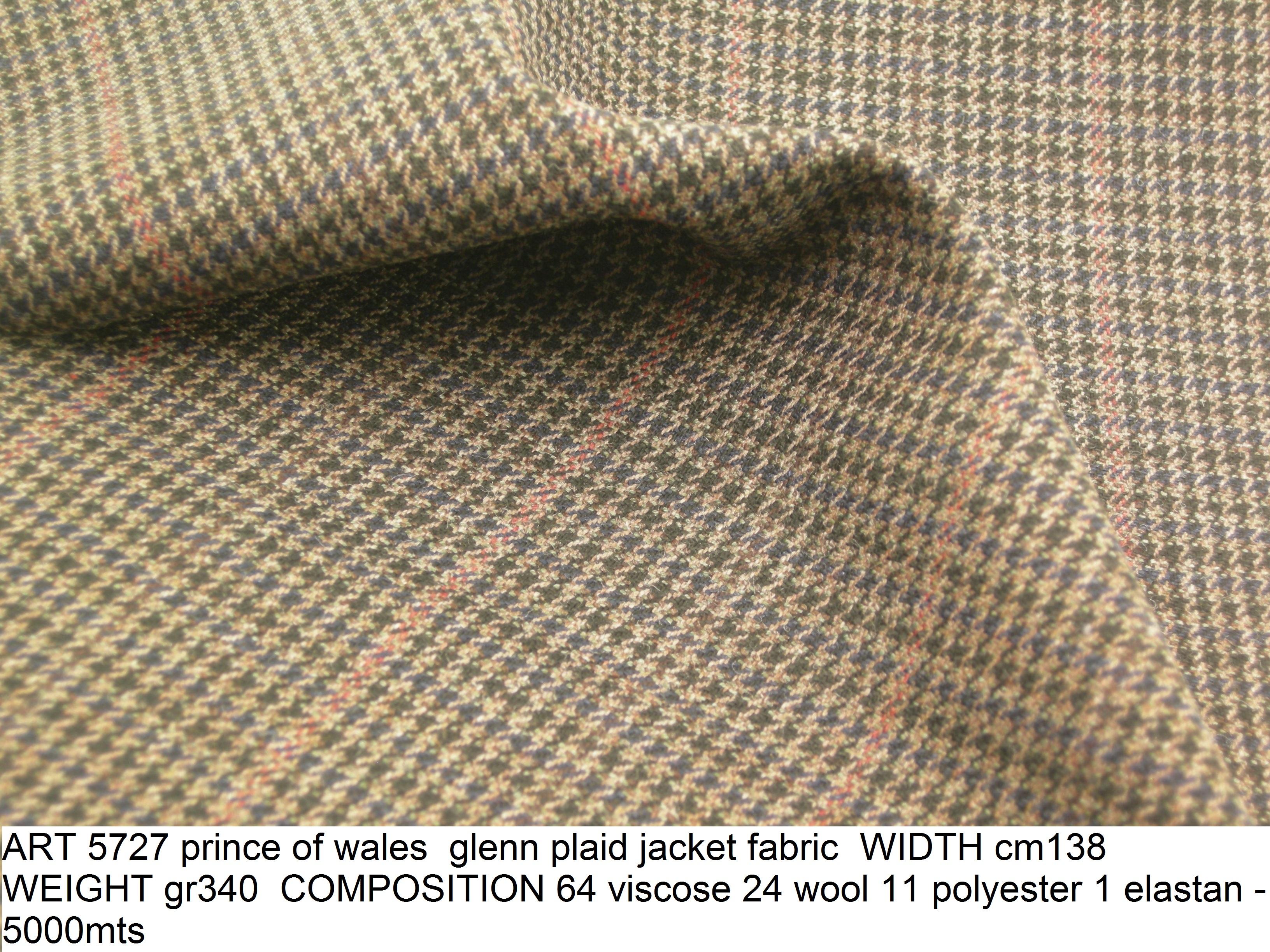 ART 5727 prince of wales glenn plaid jacket fabric WIDTH cm138 WEIGHT gr340 COMPOSITION 64 viscose 24 wool 11 polyester 1 elastan - 5000mts