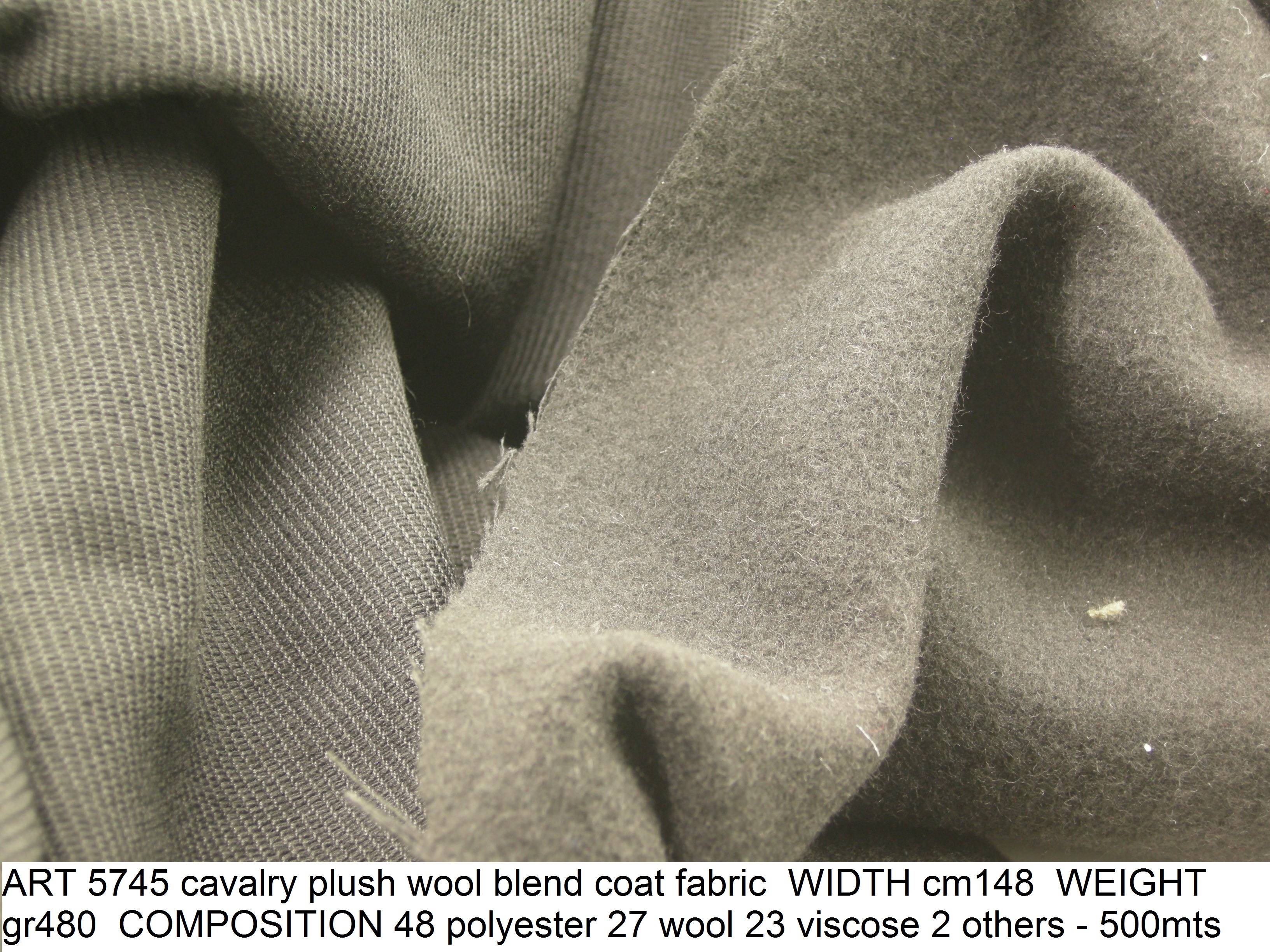 ART 5745 cavalry plush wool blend coat fabric WIDTH cm148 WEIGHT gr480 COMPOSITION 48 polyester 27 wool 23 viscose 2 others - 500mts
