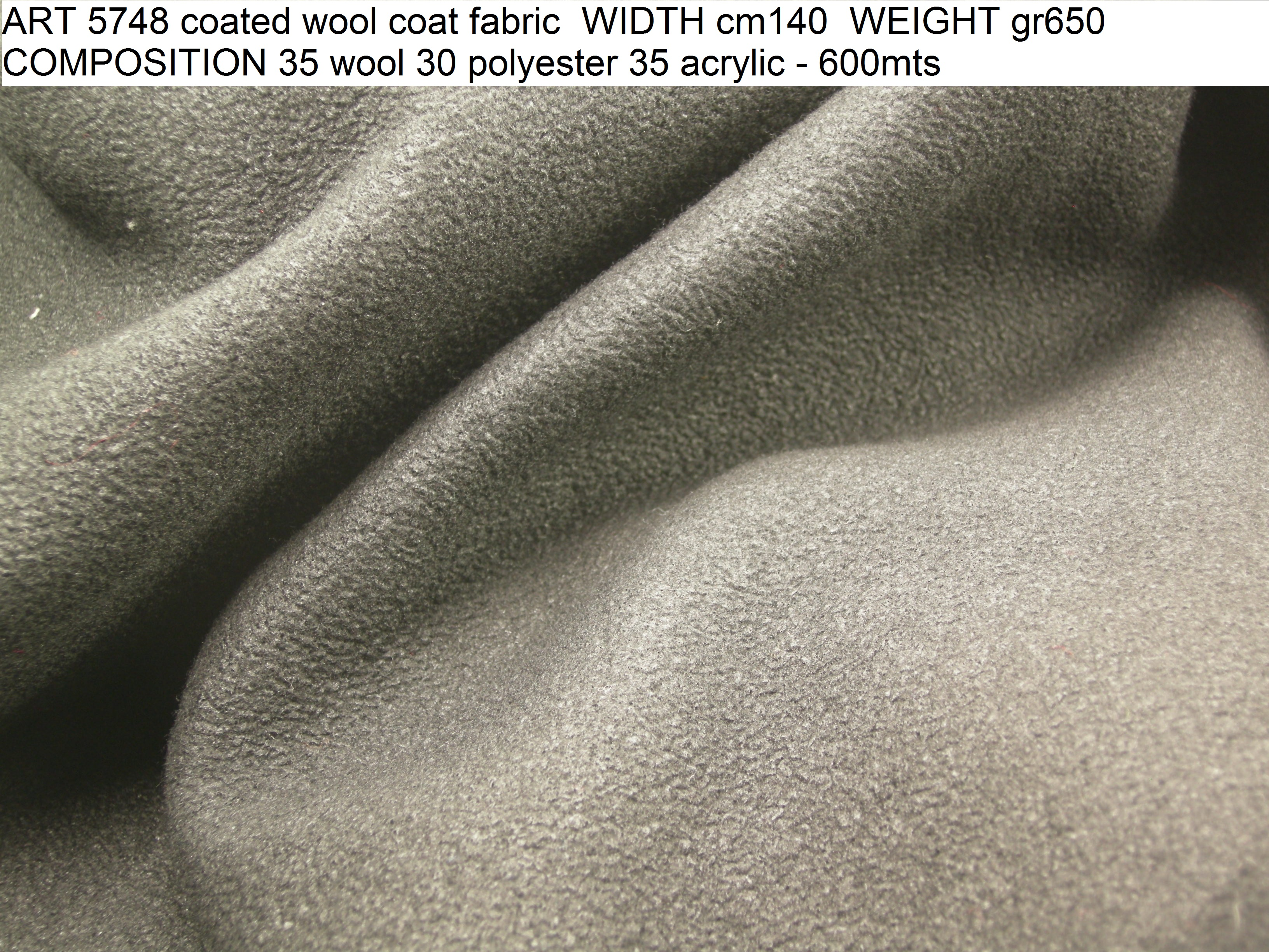 ART 5748 coated wool coat fabric WIDTH cm140 WEIGHT gr650 COMPOSITION 35 wool 30 polyester 35 acrylic - 600mts