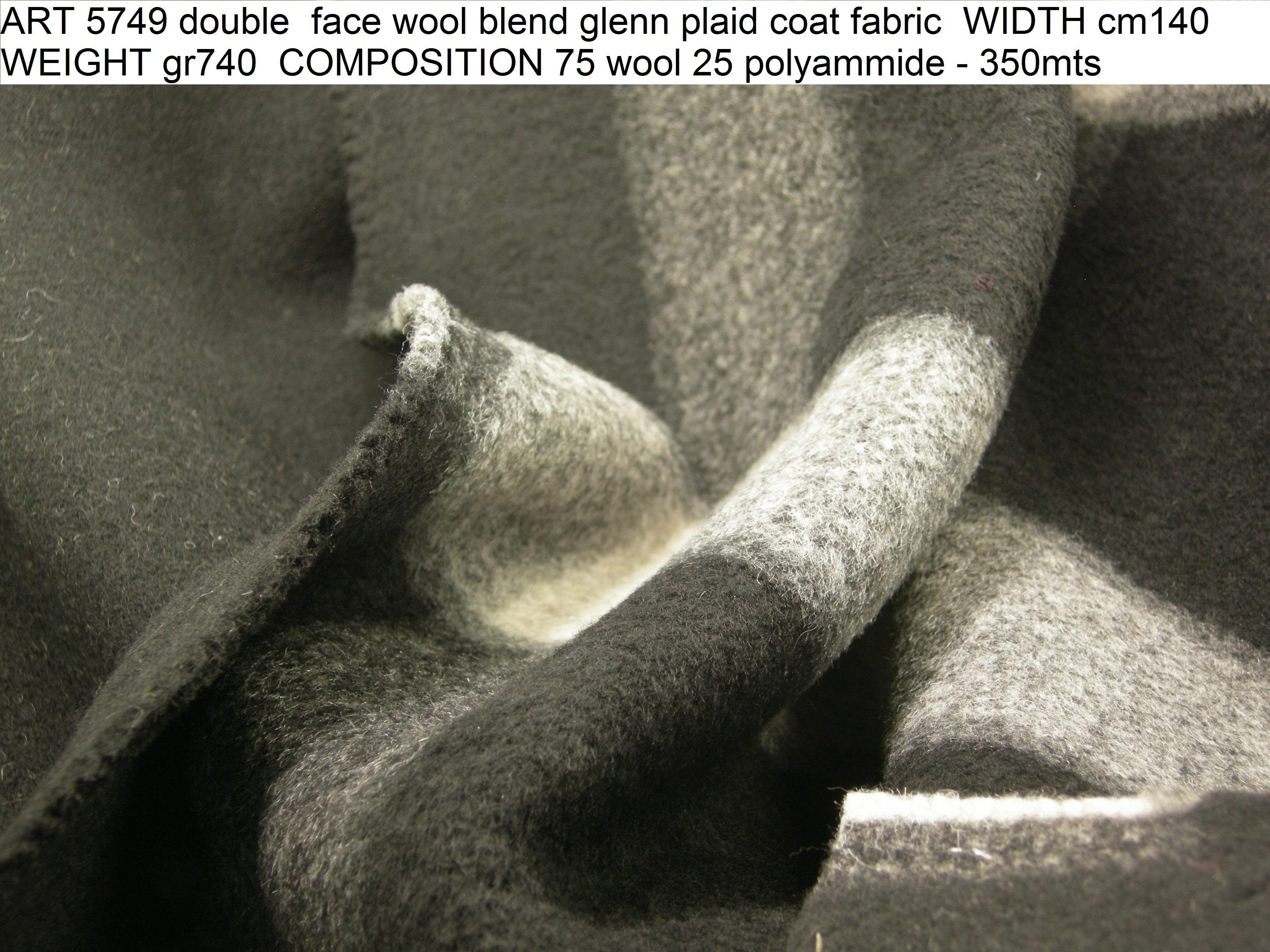 ART 5749 double face wool blend glenn plaid coat fabric WIDTH cm140 WEIGHT gr740 COMPOSITION 75 wool 25 polyammide - 350mts