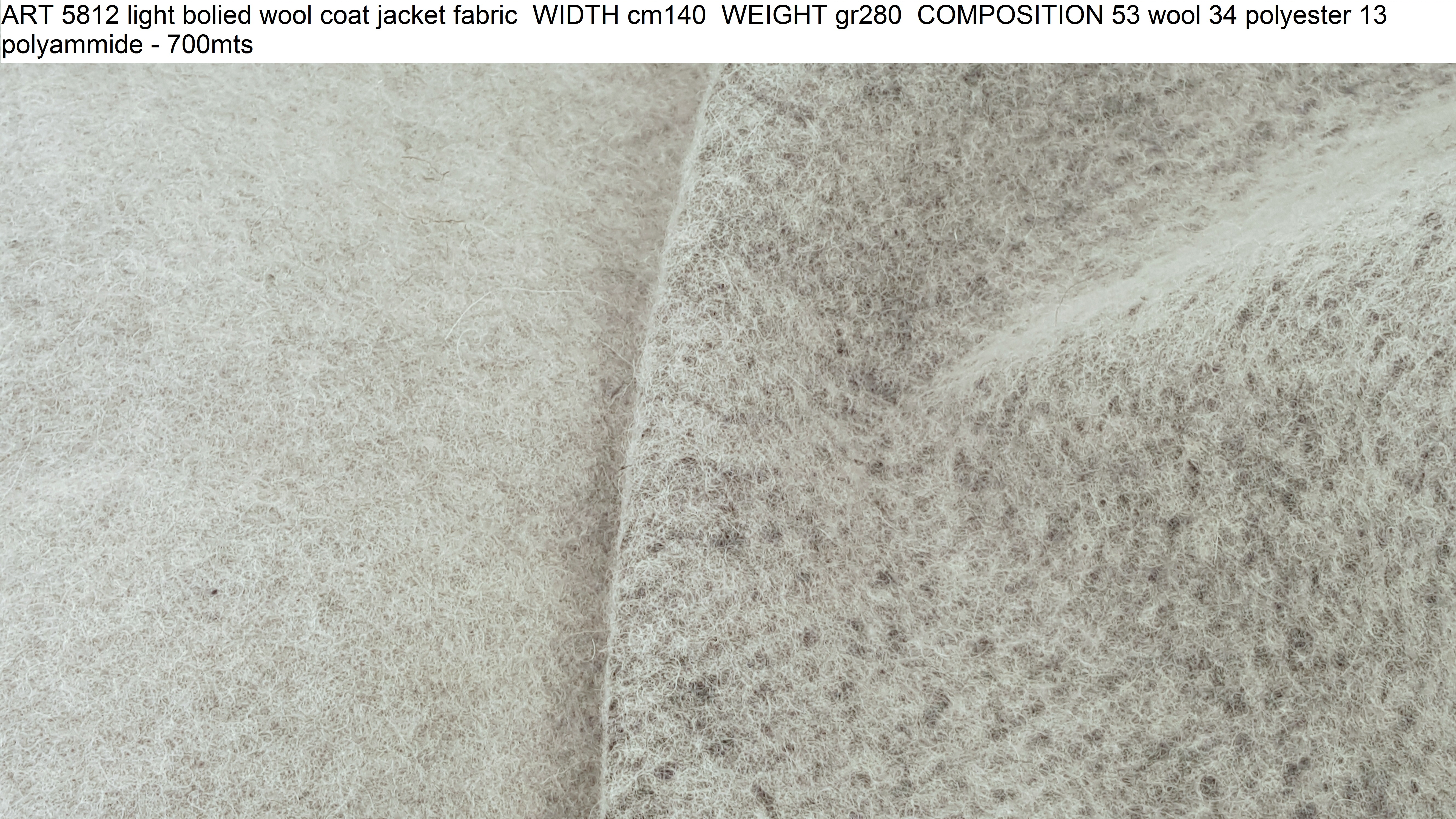 ART 5812 light bolied wool coat jacket fabric WIDTH cm140 WEIGHT gr280 COMPOSITION 53 wool 34 polyester 13 polyammide - 700mts