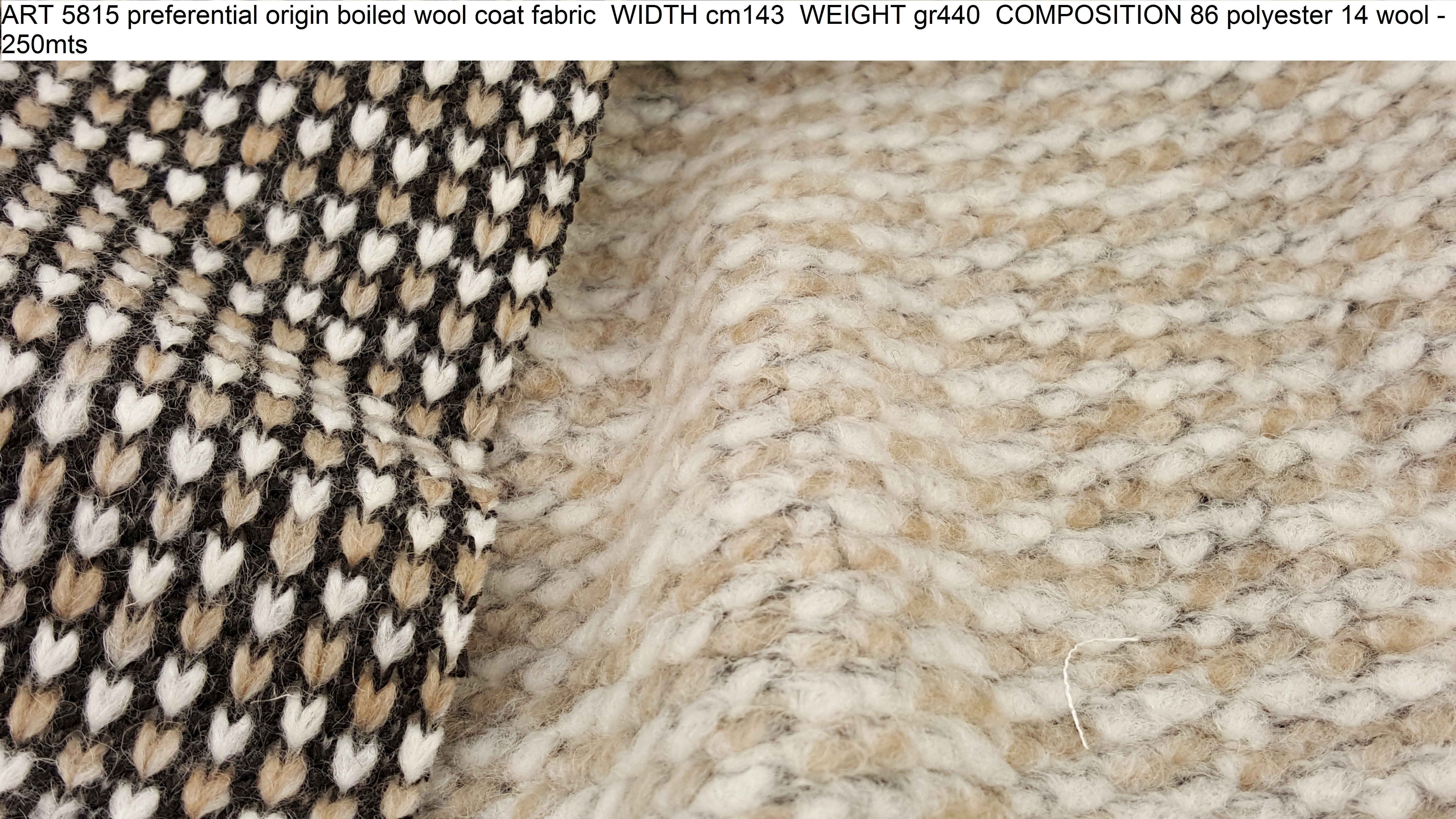 ART 5815 preferential origin boiled wool coat fabric WIDTH cm143 WEIGHT gr440 COMPOSITION 86 polyester 14 wool - 250mts