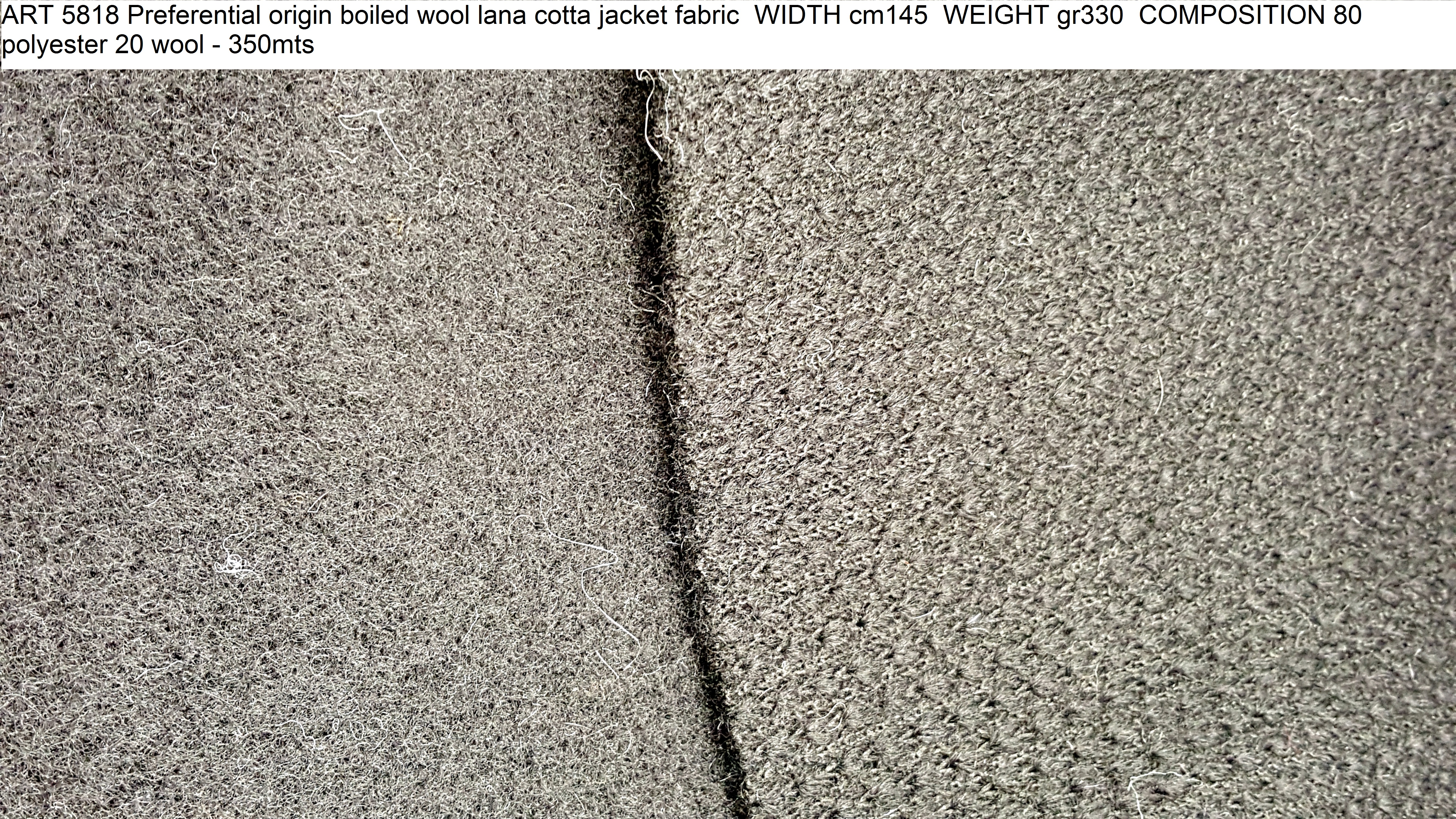 ART 5818 Preferential origin boiled wool lana cotta jacket fabric WIDTH cm145 WEIGHT gr330 COMPOSITION 80 polyester 20 wool - 350mts