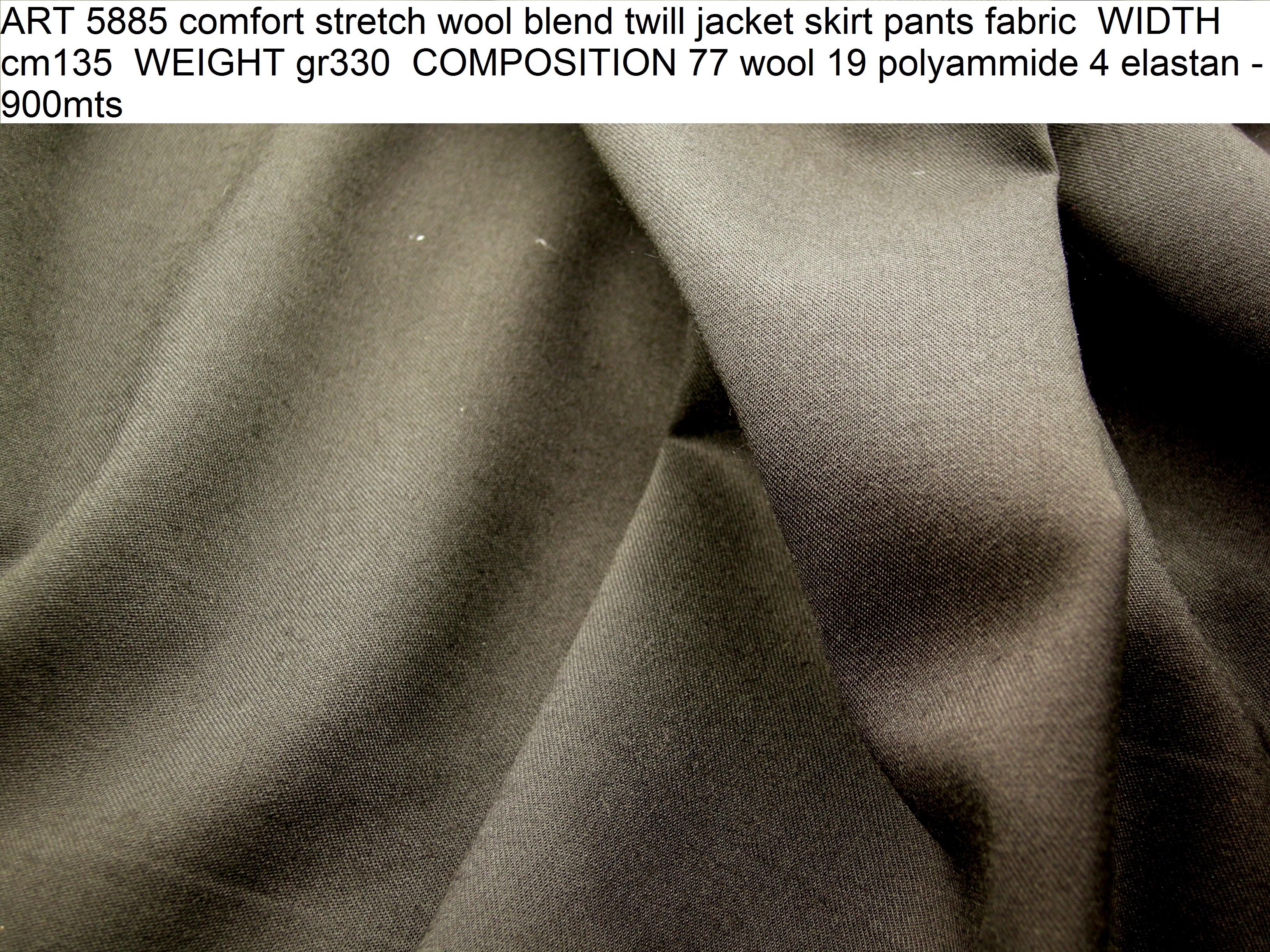 ART 5885 comfort stretch wool blend twill jacket skirt pants fabric WIDTH cm135 WEIGHT gr330 COMPOSITION 77 wool 19 polyammide 4 elastan - 900mts