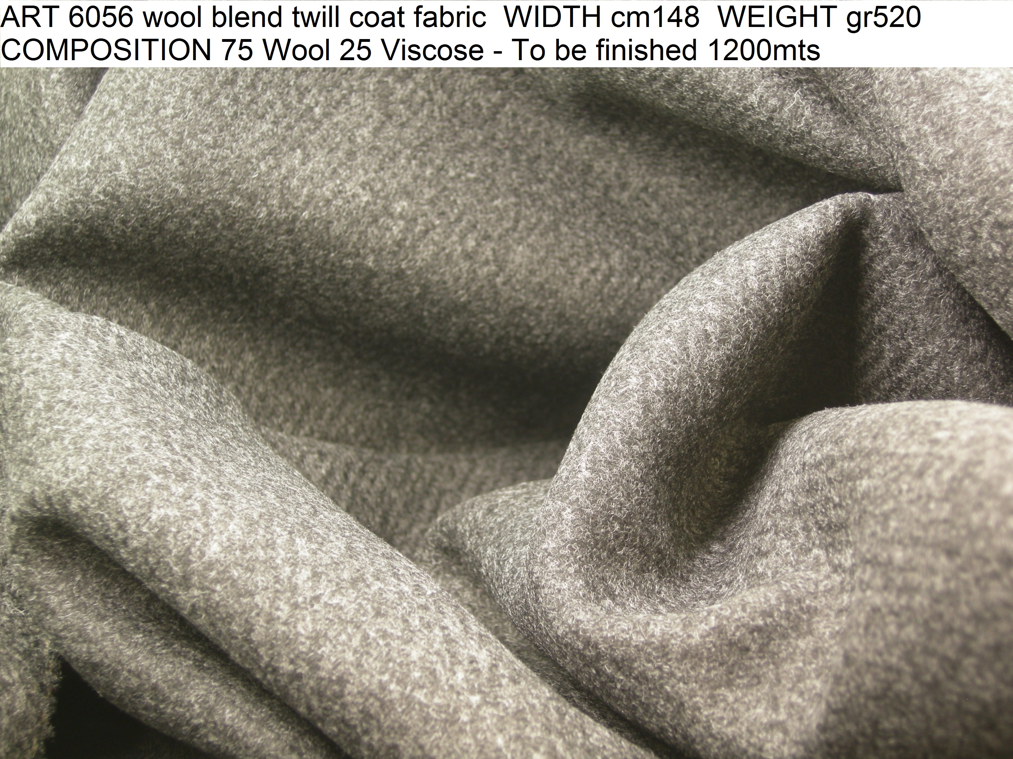 ART 6056 wool blend twill coat fabric WIDTH cm148 WEIGHT gr520 COMPOSITION 75 Wool 25 Viscose - To be finished 1200mts