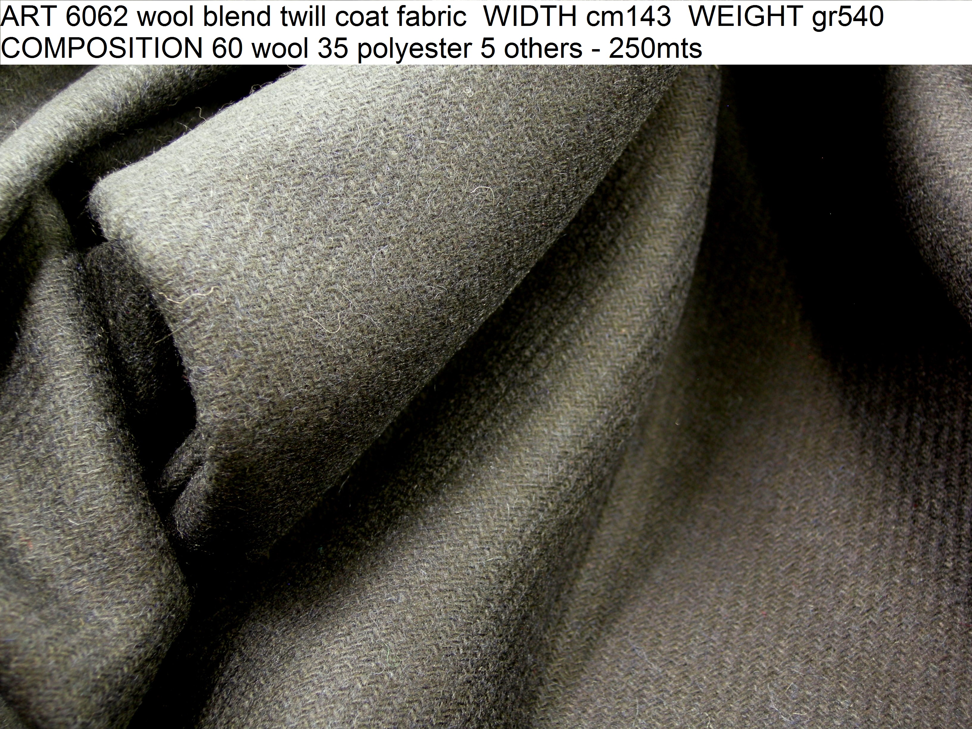 ART 6062 wool blend twill coat fabric WIDTH cm143 WEIGHT gr540 COMPOSITION 60 wool 35 polyester 5 others - 250mts