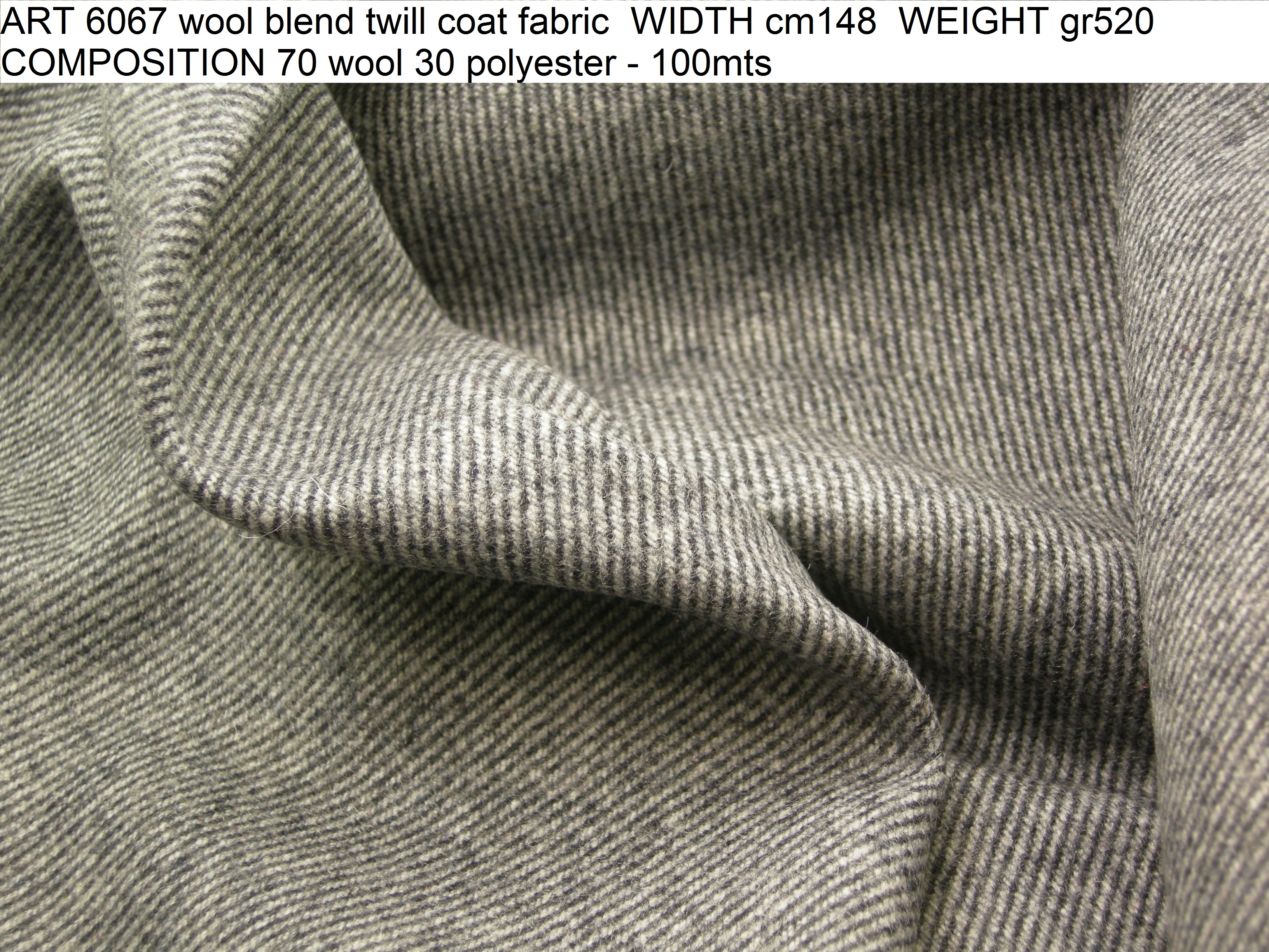 ART 6067 wool blend twill coat fabric WIDTH cm148 WEIGHT gr520 COMPOSITION 70 wool 30 polyester - 100mts