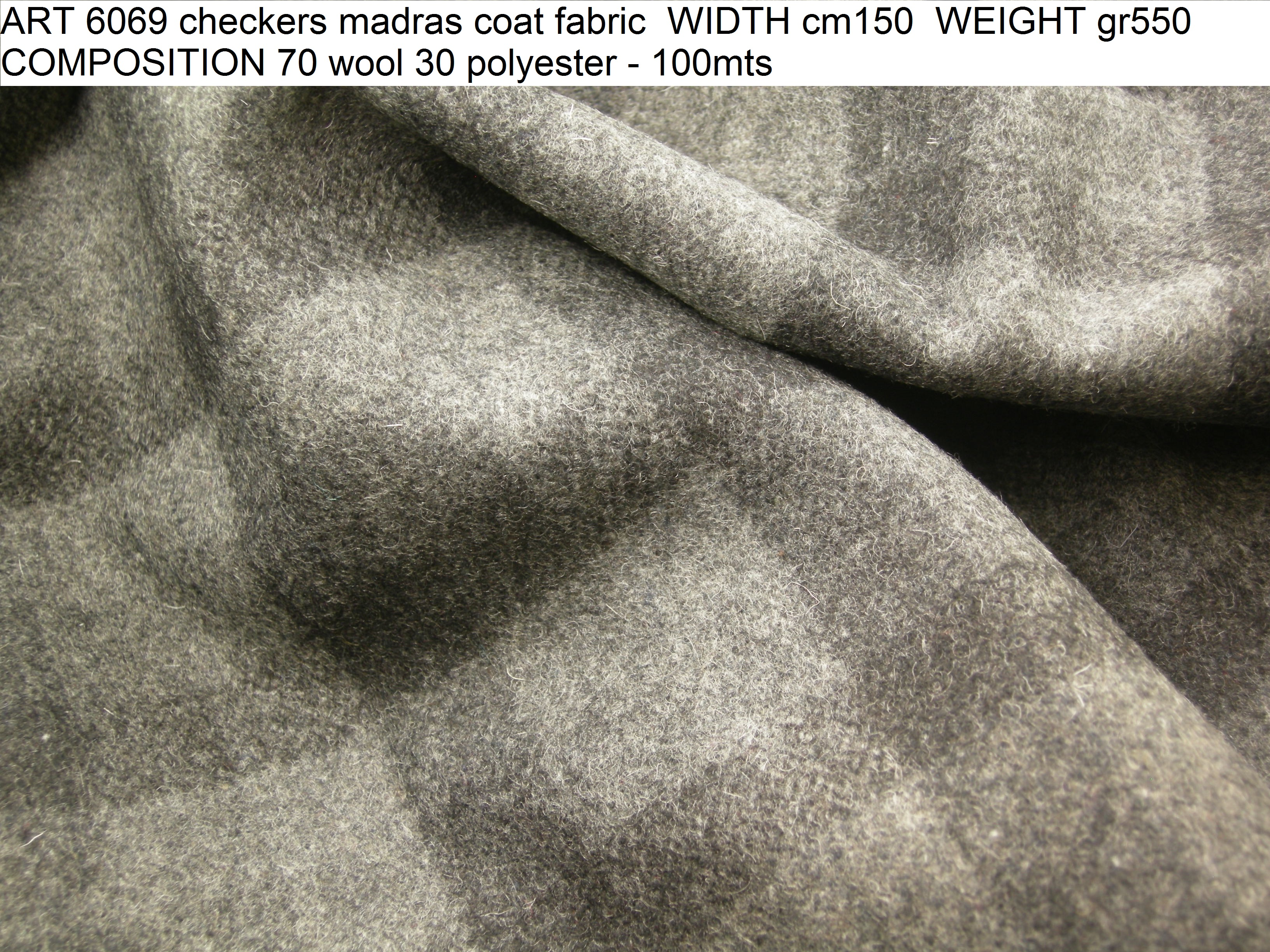 ART 6069 checkers madras coat fabric WIDTH cm150 WEIGHT gr550 COMPOSITION 70 wool 30 polyester - 100mts