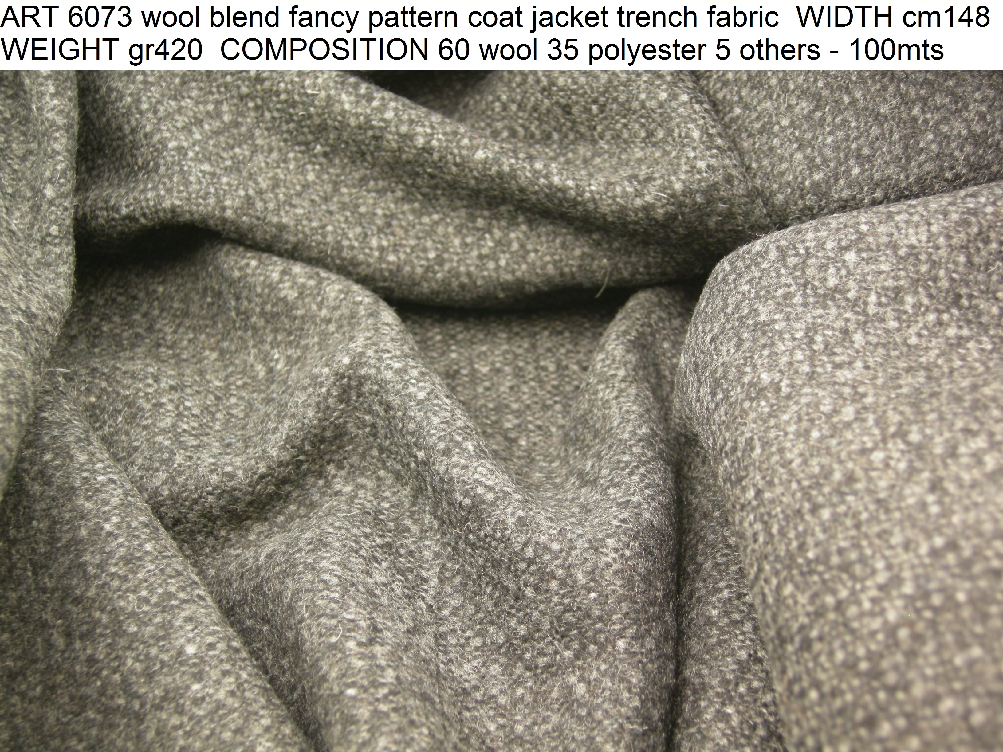 ART 6073 wool blend fancy pattern coat jacket trench fabric WIDTH cm148 WEIGHT gr420 COMPOSITION 60 wool 35 polyester 5 others - 100mts