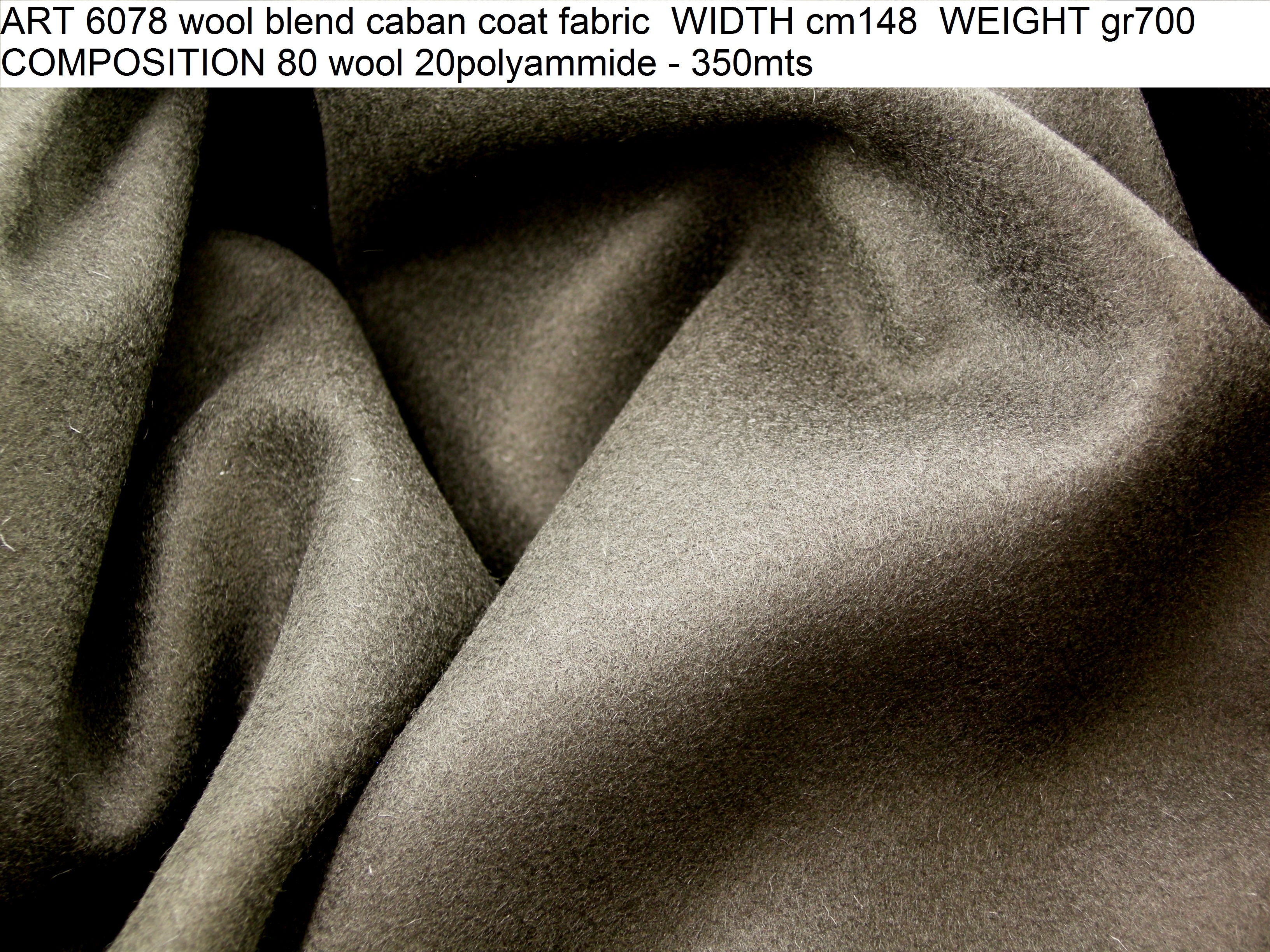 ART 6078 wool blend caban coat fabric WIDTH cm148 WEIGHT gr700 COMPOSITION 80 wool 20polyammide - 350mts