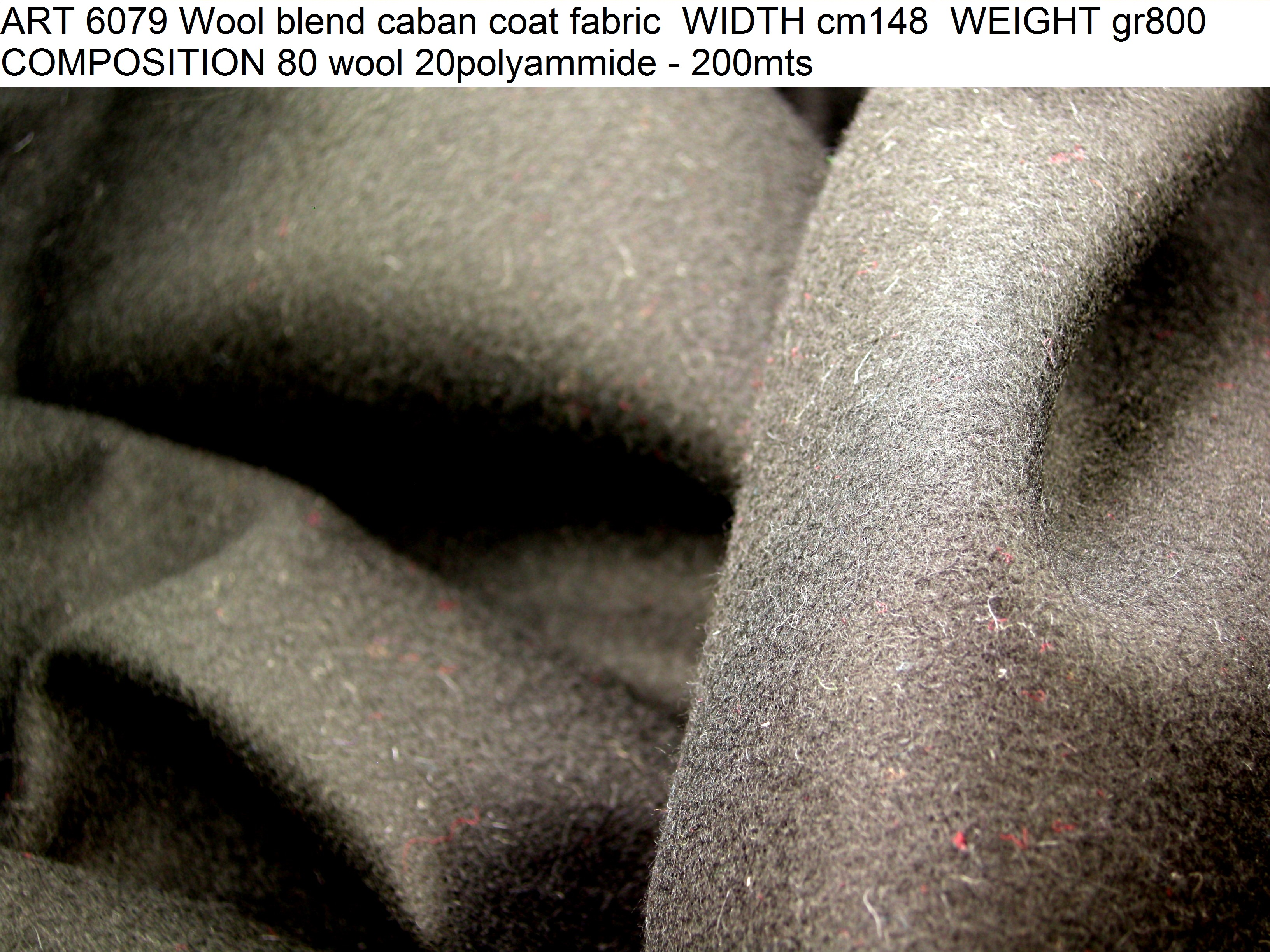 ART 6079 Wool blend caban coat fabric WIDTH cm148 WEIGHT gr800 COMPOSITION 80 wool 20polyammide - 200mts